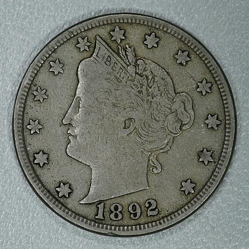 1892 VF Liberty Nickel, another scarce early date in great condition