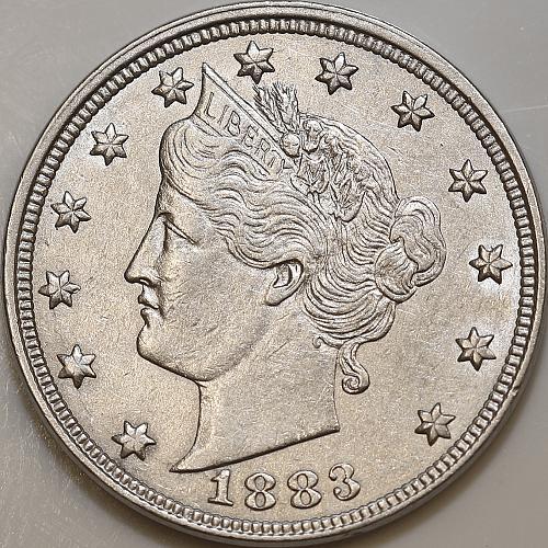 1883 Liberty Head V Nickel - No Cent - Choice BU / MS / UNC