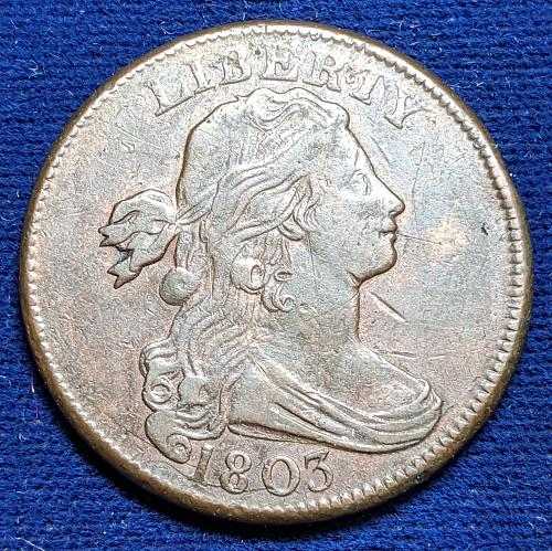 1803 LARGE DATE, ALL FRACTION VERY FINE DRAPED BUST LARGE CENT