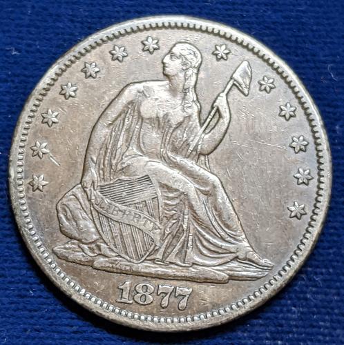 1877CC VERY FINE+ SEATED LIBERTY HALF DOLLAR