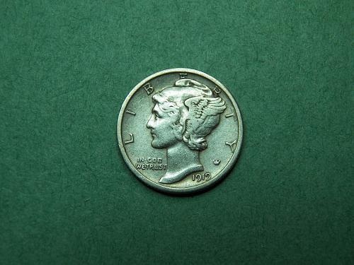 1919 D Mercury Dime Very Fine Coin   u59