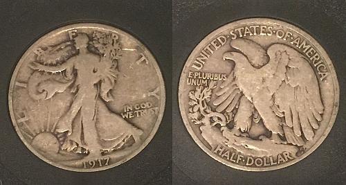 1917-P VF/XF Walking Liberty Half Dollar Liberty Eagle Coin