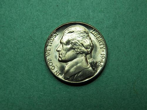 1948 D Jefferson Nickel Brilliant Uncirculated Coin   u66