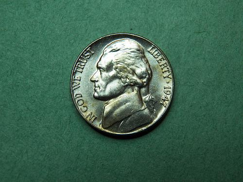 1947 P Jefferson Nickel Brilliant Uncirculated Coin   u63