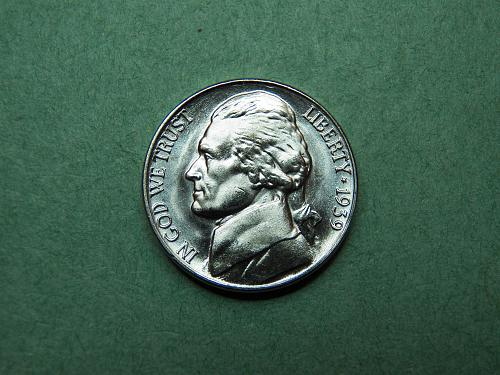 1939 P Jefferson Nickel Brilliant Uncirculated Coin   u45