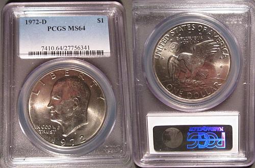 1972-D Certified Eisenhower Dollar PCGS MS64 IKE Dollar