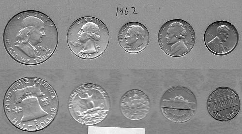 1962-P US coin set Penny, Nickel, Dime, Quarter, Half Dollar