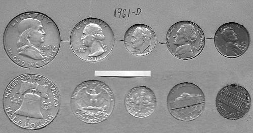1961-D US coin set Penny, Nickel, Dime, Quarter, Half Dollar