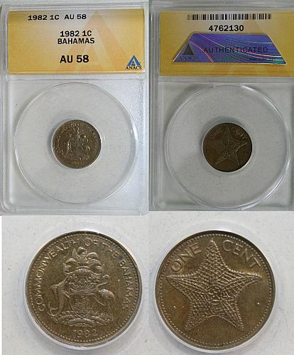 1982 Bahamas 1 cent coin - ANACS AU 58 STAR FISH