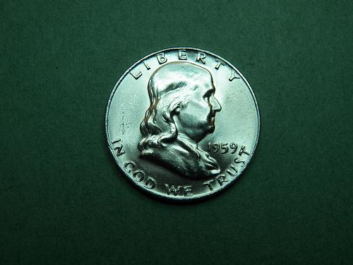1959 P Franklin Half Dollar Gem BU Coin   u57