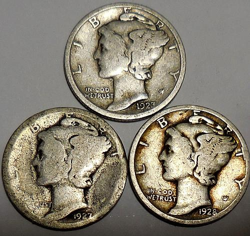 Three Mercury dimes 1923-P 1927-P & 1928-P