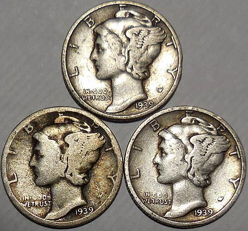 Three Mercury dimes 1939-P 1939-D & 1939-S