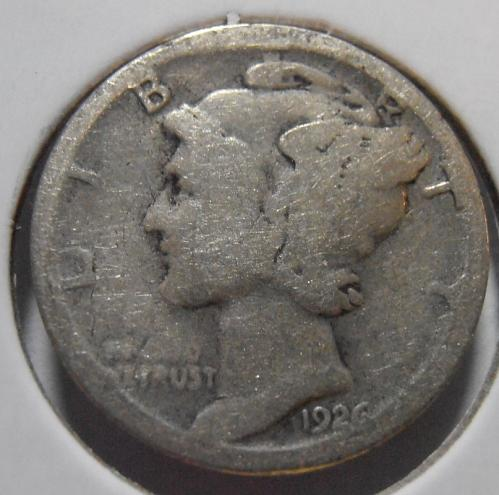 1926 S Mercury Silver Dime,  Tough Date (26SAC1)