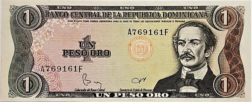 DOMINICAN REPUBLIC 1 PESOS 1984 WORLD PAPER MONEY