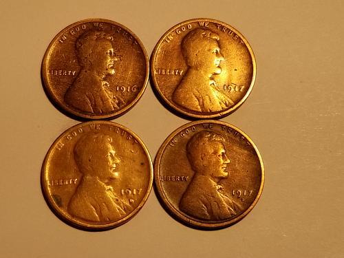1917 D Set of 4 - 1916 P, 1917 P, 1917 D, & 1917 S