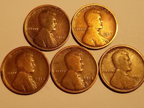 1918 S Set of 5 - 1916 P, 1917 P, 1918 P, 1918 D, & 1918 S