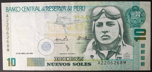 Peru P157 10 Nuevos Soles F-VF