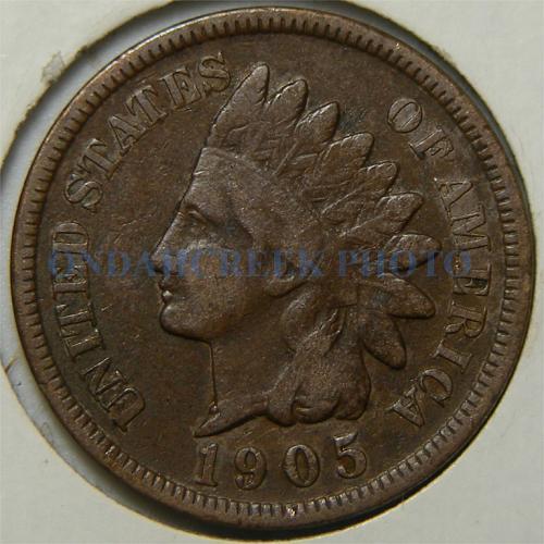 1905 Indian Cent Retained Cud Die Break Pre Cud Error Coin