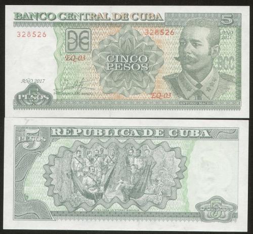 Cub2017 $5 Pesos Banknotes UNC