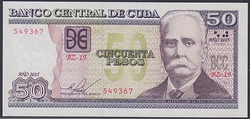 Cub2015 $50 Pesos Banknotes UNC