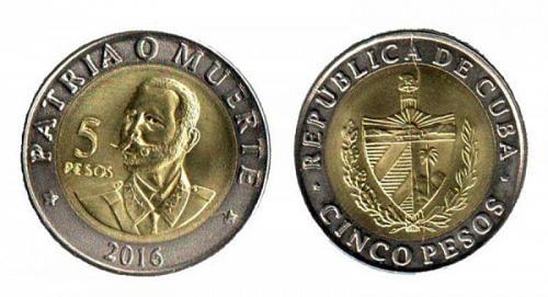 Cub2016 $5 Pesos Bimetalic Coin UNC