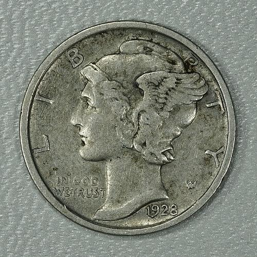 1928-D Mercury Dime, nice piece with a lot of detail from old collection
