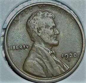 1920-D EXTRA FINE Lincoln Wheat Cent ( F12519 )