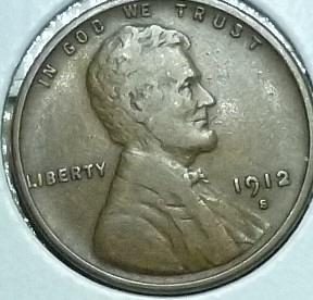 1912-S EXTRA FINE Lincoln Wheat Cent ( J12409 )