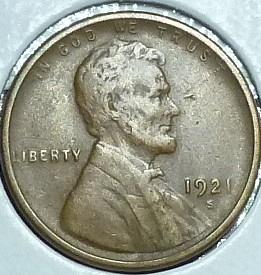 1921-S EXTRA FINE Lincoln Wheat Cent ( I12519 )