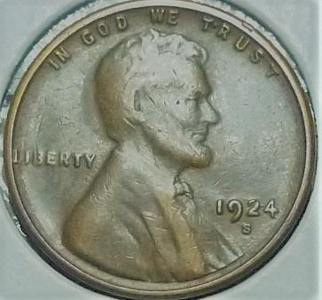 1924-S EXTRA FINE Lincoln Wheat Cent ( P12519 )