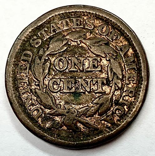 1849 Braided Hair Liberty Head Large Cent - Cleaned