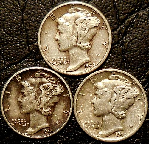 Three Mercury Dimes 1942-P 1944-P & 1944-D