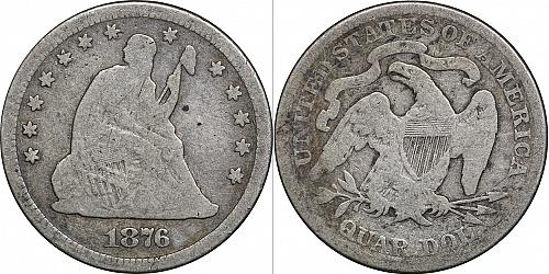 1876 Seated Liberty Silver Quarter, Good
