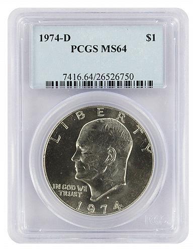 1974-D Certified Eisenhower Dollar PCGS MS64 IKE Dollar