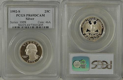 1992-S WASHINGTON QUARTER PCGS SILVER PR69 DCAM