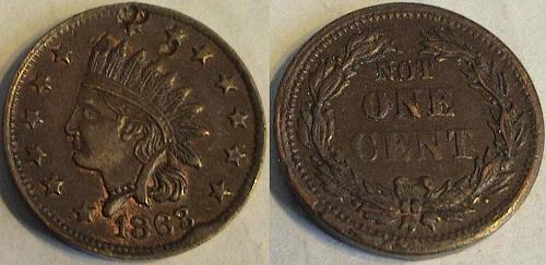 **1863 Civil War Token- Indian Head/ Not One Cent**
