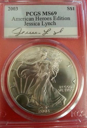 2003 PCGS MS69 AMERICAN HEROES JESSICA LYNCH