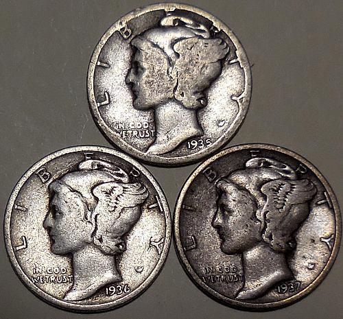 Three Mercury Dimes 1935 1936 & 1937