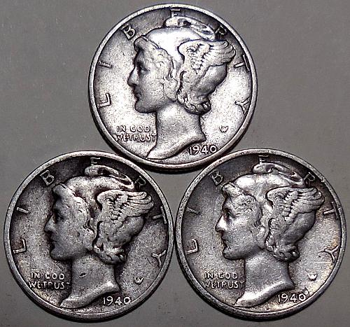 Three Mercury Dimes 1940-P 1940-D & 1940-S