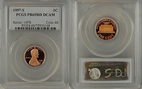 1997-S PROOF LINCOLN CENT PCGS PR69RD DCAM
