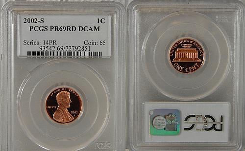 2002-S PROOF LINCOLN CENT PCGS PR69RD DCAM