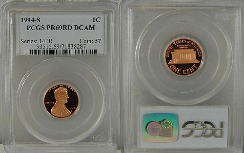 1994-S PROOF LINCOLN CENT PCGS PR69RD DCAM