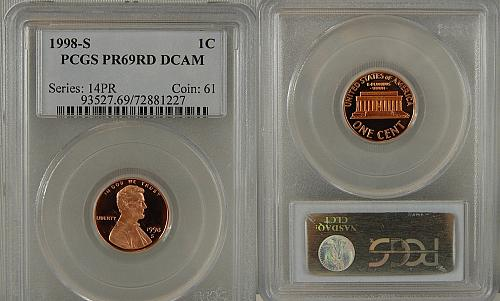 1998-S PROOF LINCOLN CENT PCGS PR69RD DCAM
