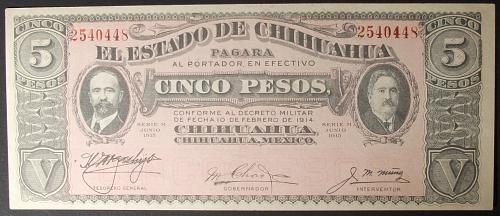 Mexico/Chihuahua P532A 5 Pesos AU+