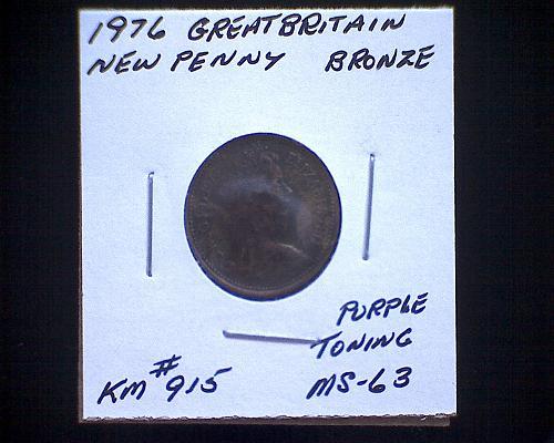 1976 GREAT BRITAIN NEW PENNY  QUEEN ELIZABETH 11