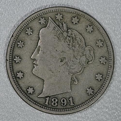 1891 About Fine Liberty Nickel with 6 of 7 letters of LIBERTY showing on headban