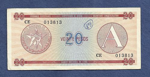 CUBA 20 Peso Exch Cert P-FX6 -ND 1985 No CE 013813 Series A -Fortresses in Cuba