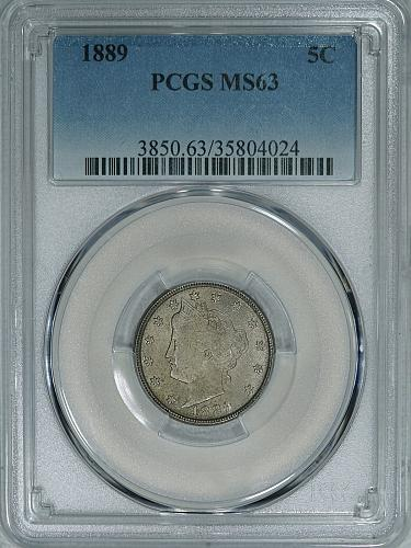 1889 PCGS MS63 Liberty Nickel, decent mid-grade mint state example for your set