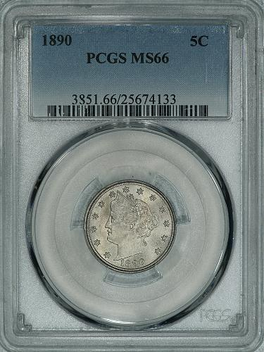 1890 PCGS MS66 PQ Liberty Nickel, a super nice example of this SCARCE DATE