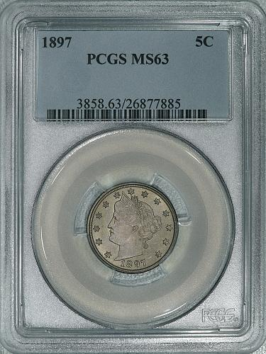 1897 PCGS MS63 PQ Liberty Nickel, nice coin with original color and luster
